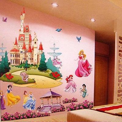 Grande princesa castelo fadas decalques de parede adesivos de parede 3d mural kids room decor