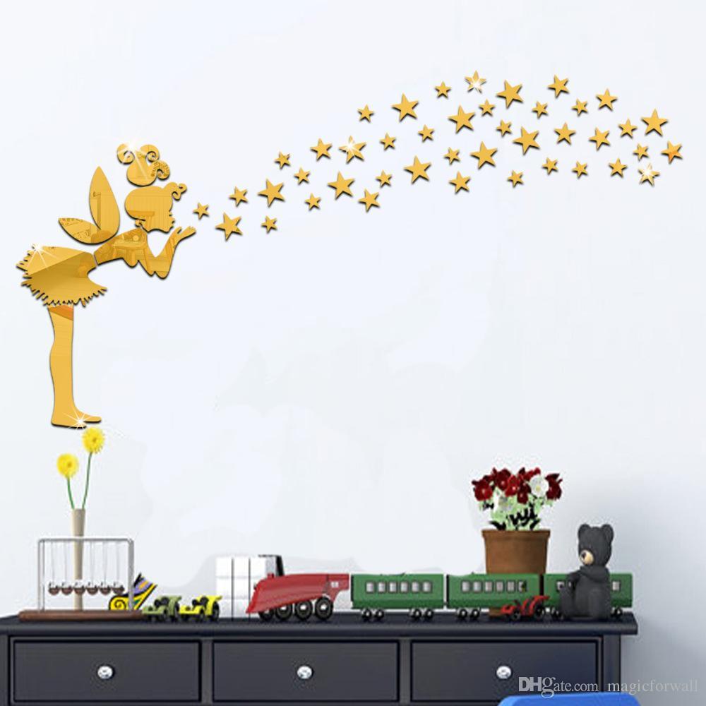Hada 3D con Estrellas Mágicas Espejo Muralla Art Decal Etiqueta Etiqueta Dormitorio Arte Decoración Decoración Niña con ala Etiqueta engomada de espejo creativo