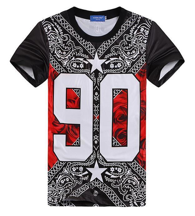 Harajuku Style New Mens Hip Hop T Shirt Graphic Printed Bandana 90 ...