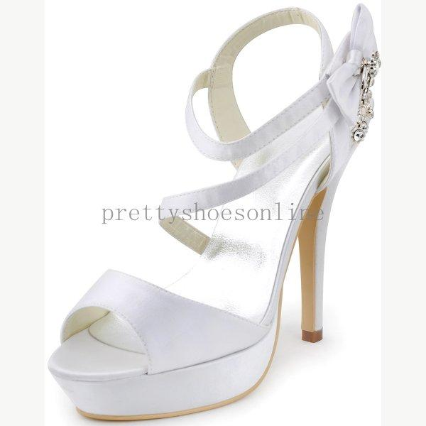 Pretty Grace White Wedding Sandals High Heel Slingbacks Satin ...