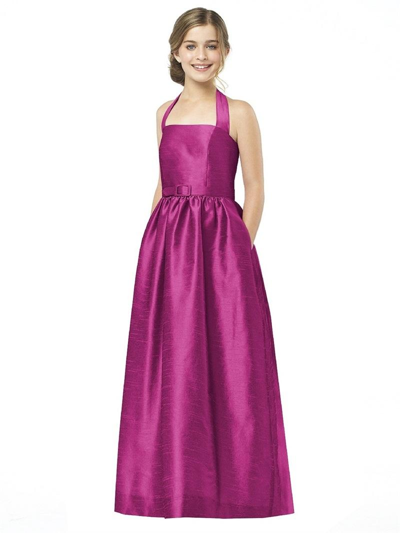 Design Fuchsia Junior Bridesmaid Dress Long Hater Taffeta 2015 Young ...