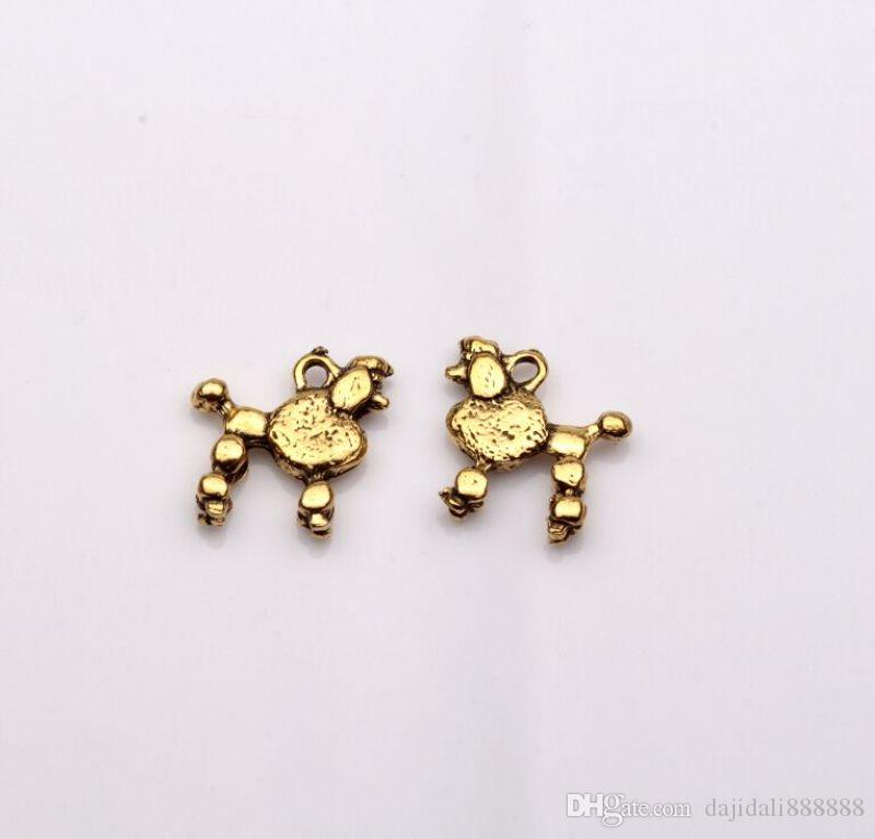 Hot ! Antique Gold Double-sided design Dog Charms pendants DIY Jewelry 15 x14mm 369