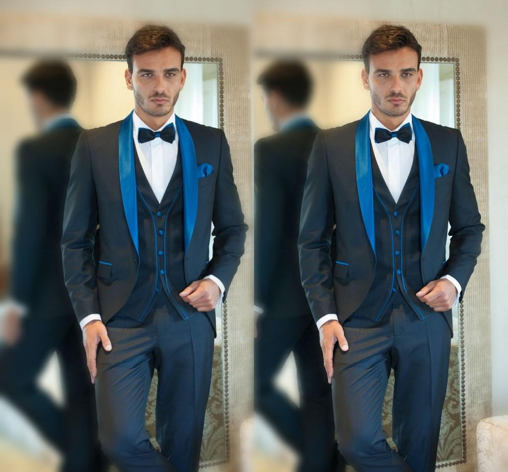 2016 Designer Navy Blue Flat Collar Customized Wedding Suit Groom ...
