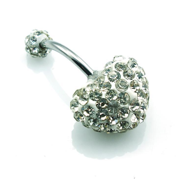 Moda Brzuch Button Pierścienie 2 Kolor Shambhala Rhinestone Podwójne Serce Steel Steel Chirurgiczny Pępek Body PierCing Biżuteria