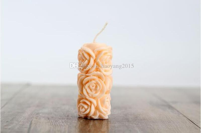 LZ0079 food-grade silicone material silicone mold 3D rose cylindrical candle molds Soap mold fondant cake decorating tools