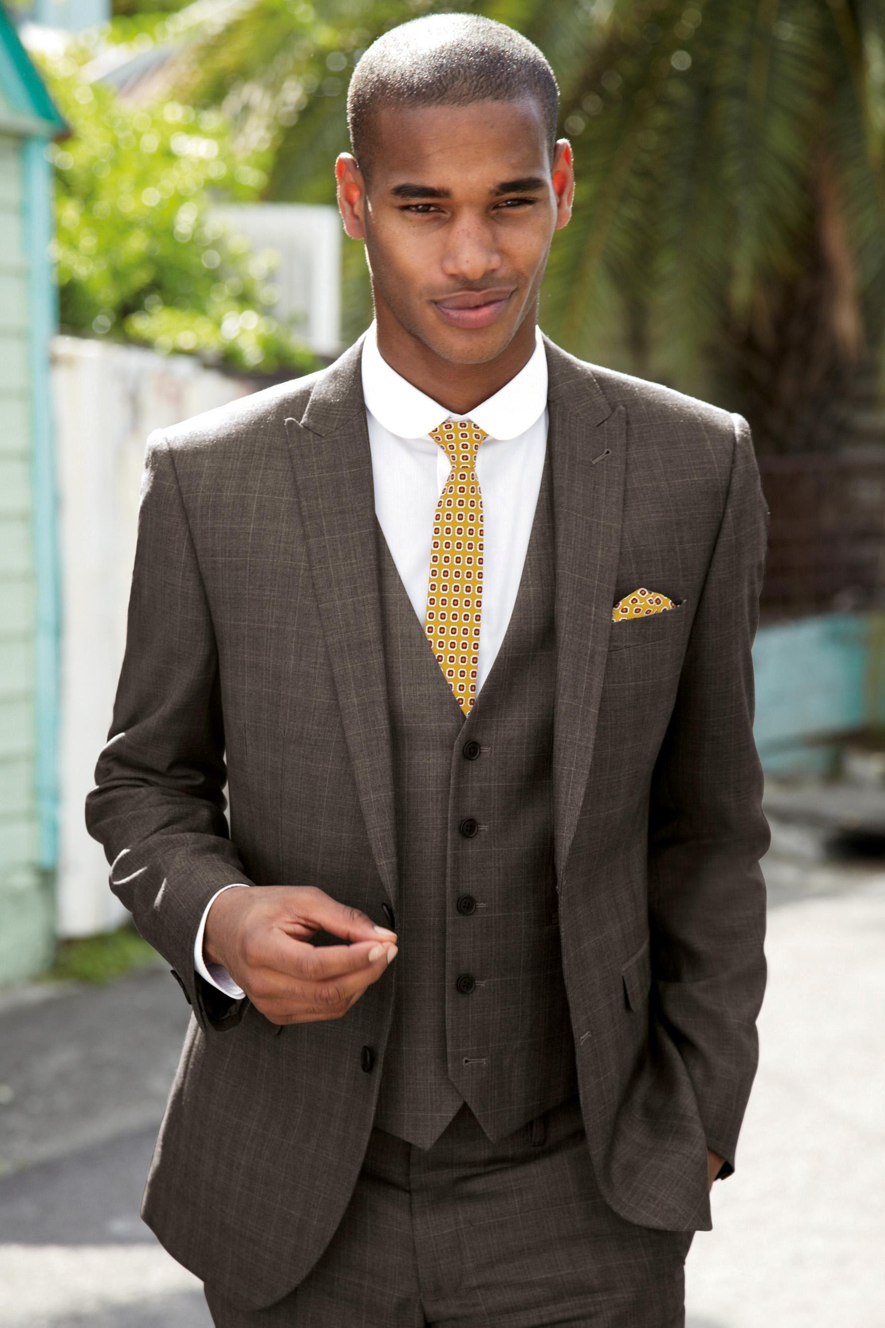 Brown Wedding Suits For Men Men Suits Slim Fit Men Tuxedos Peaked ...