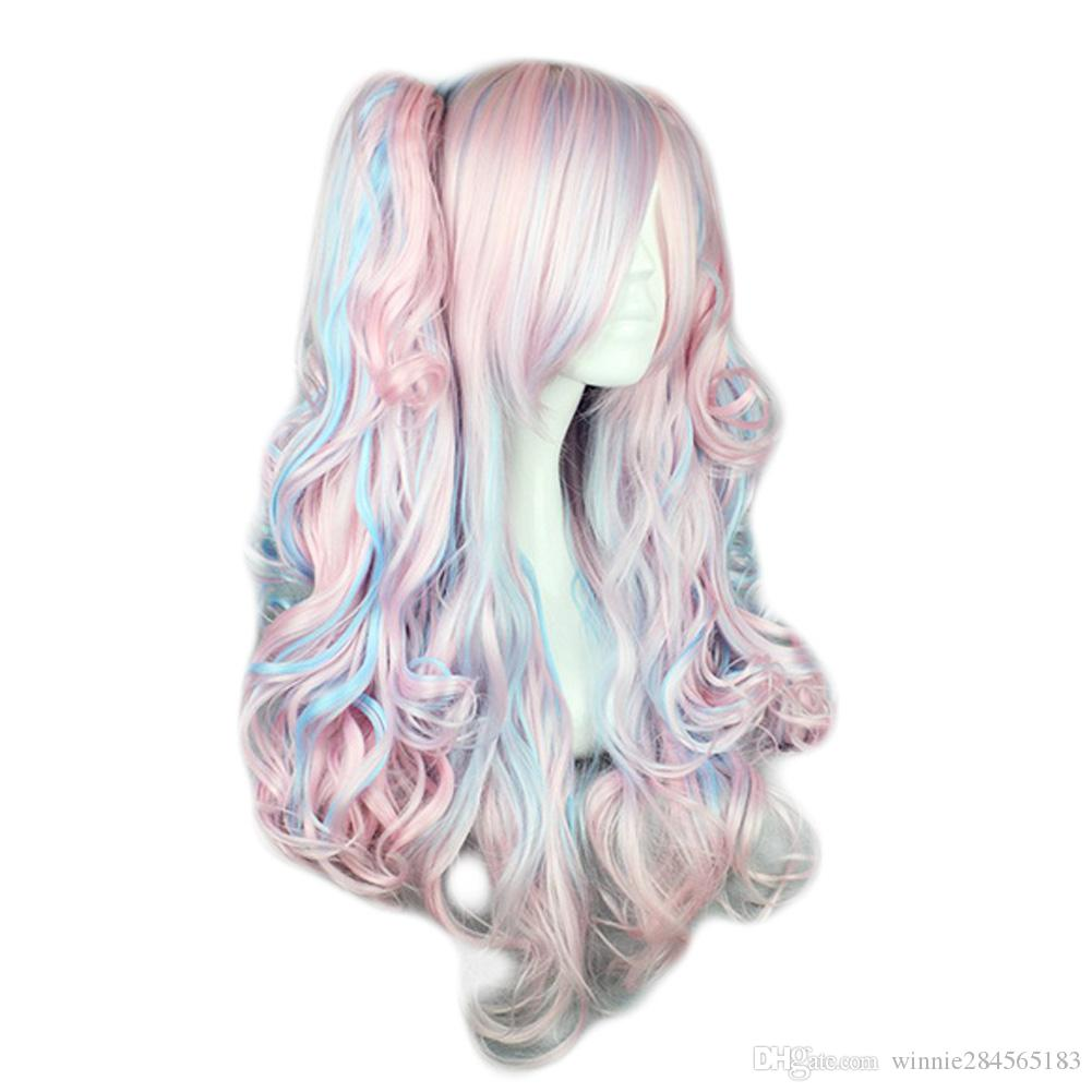 Kyoko Lolita Perruques Vague de Corps Haute Température Bang Bleu Rose Glace Couleurs Cosplay Coser Love Postiches