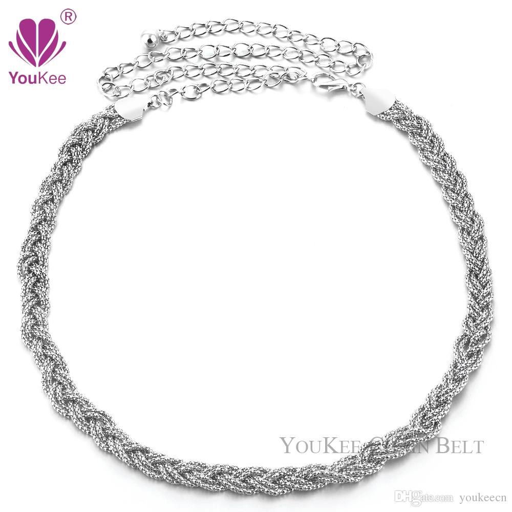 New Lady Chain Waist Disco Metal Belt Ladies Gold & Silver Charm Waist Belt 110 cm Long Women Belt Gold (BL-231) YouKee Belt
