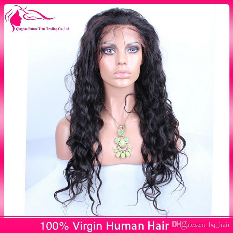 DHL Indian Virgin Hair Body Wave Full Lace Human Hair Wigs For Black Women 8A Wavy Remy Hair Lace Front Wigs