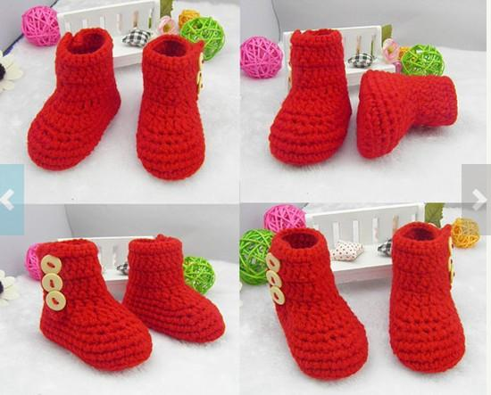 2015 Hot Winter red 9 10 11CM baby toddler shoes,girl snow booties,girl Crochet shoes,shoes sale 0-12M cotton