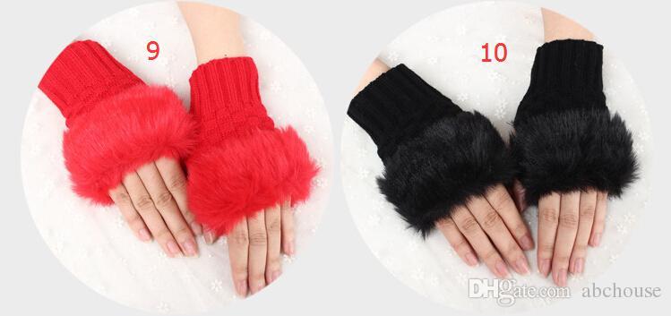 Шерсть смешанные искусственного меха дамы неуточненные перчатки вязаные крючком зимние перчатки теплые вечерние перчатки 60 пар