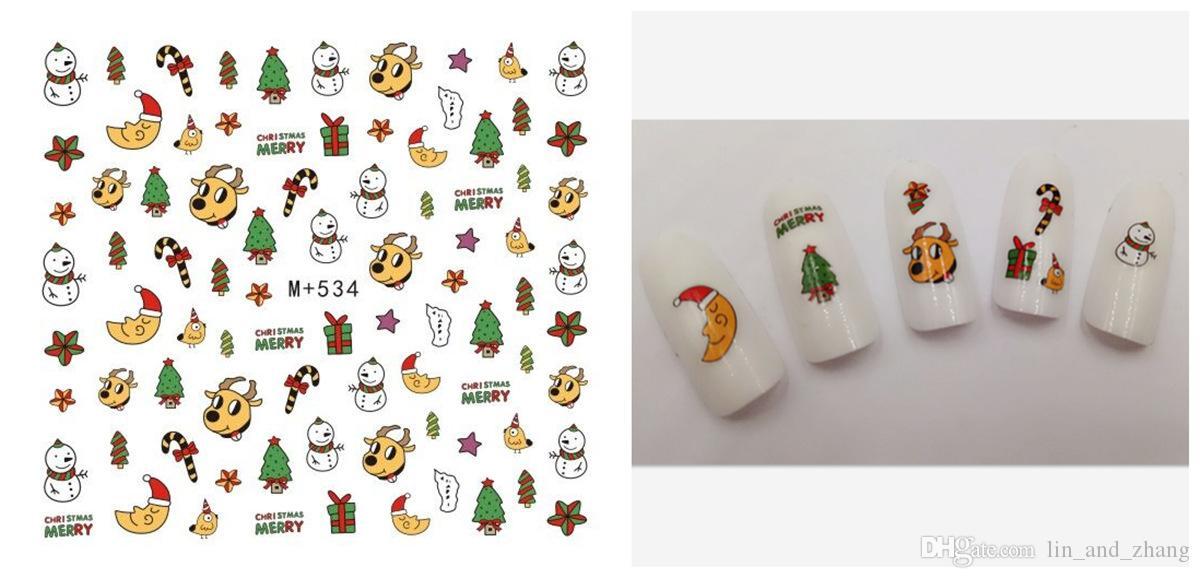 Diseño de regalo de Navidad 3D Santa Claus muñeco de nieve del árbol de Navidad de Transferencia de Agua Nails Art Sticker calcomanías etiqueta del clavo