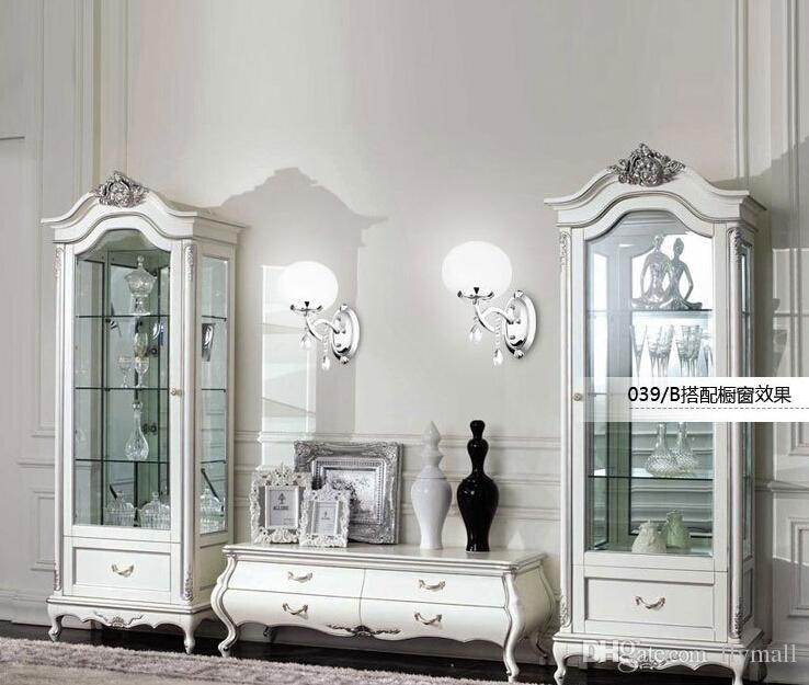 Brief one head Glass Shade Crystal Wall Lamp Chandelier Light Fashion Chandelier Circular Lamps Living room Bedroom Corridor Balcony Light