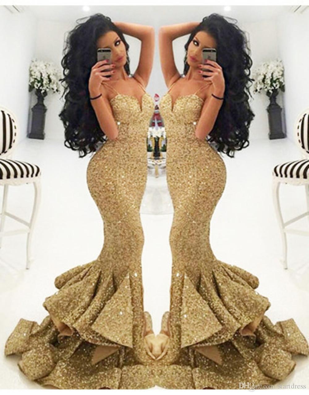 Custom Made Mermaid Prom Dresses Sweetheart Floor Length Sequined Dresses Party Evening Bling Holiday Gold Prom Dresses Vestidos De Fiesta