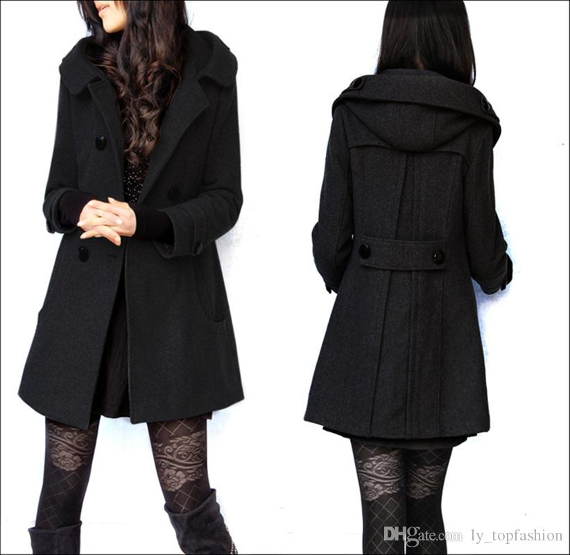 Casacos de Inverno das mulheres do Sexo Feminino Coreano Longo De Lã Quente Casaco Magro Femininos Jaqueta Plus Size 4XL Double-Breasted Com Capuz