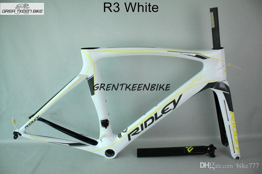 2016 Ridley Road Bike White Yellow Color Glossy Carbon Bike Frame