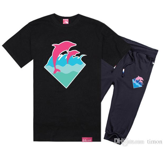 costume dauphin rose pantalon à manches courtes en coton T-shirts lettre courte série O-cou pour hommes occasionnels T-shirts de jeu, costume hiphop Livraison gratuite