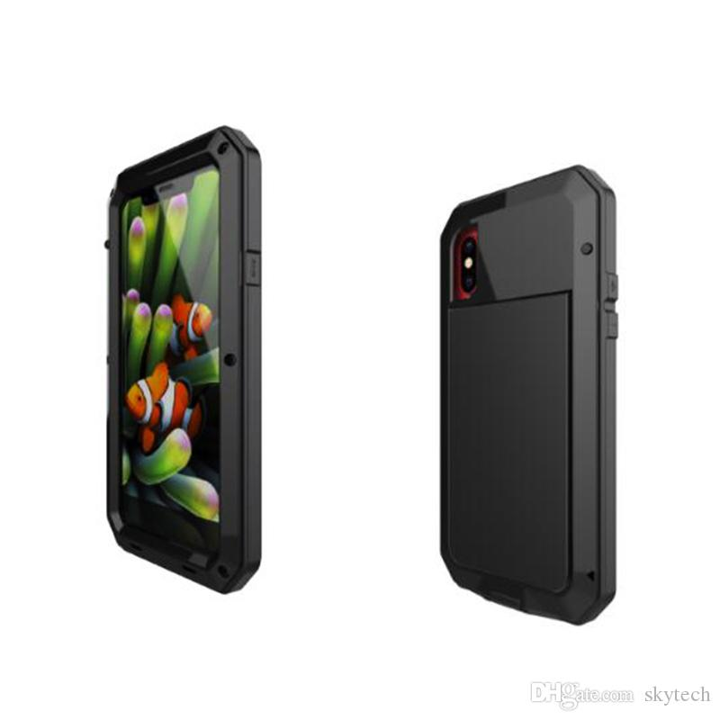 For iphone X 7 8 plus case Powerful Shockproof Aluminum Metal Back Cover waterproof Protective Case with tempered glass