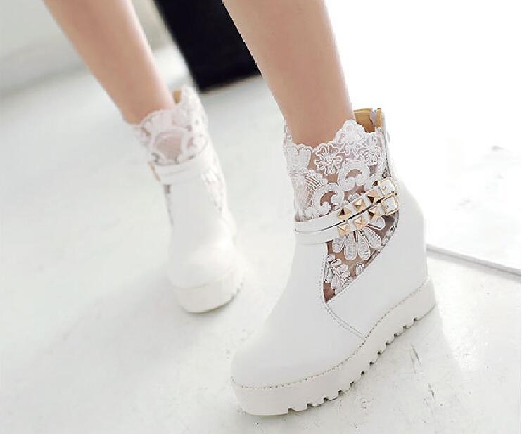 Fall Winter Lace Wedding Shoes Bridal Boots White Sheer Ankle With Buckle Cheap Girl Casual Ivory Uk