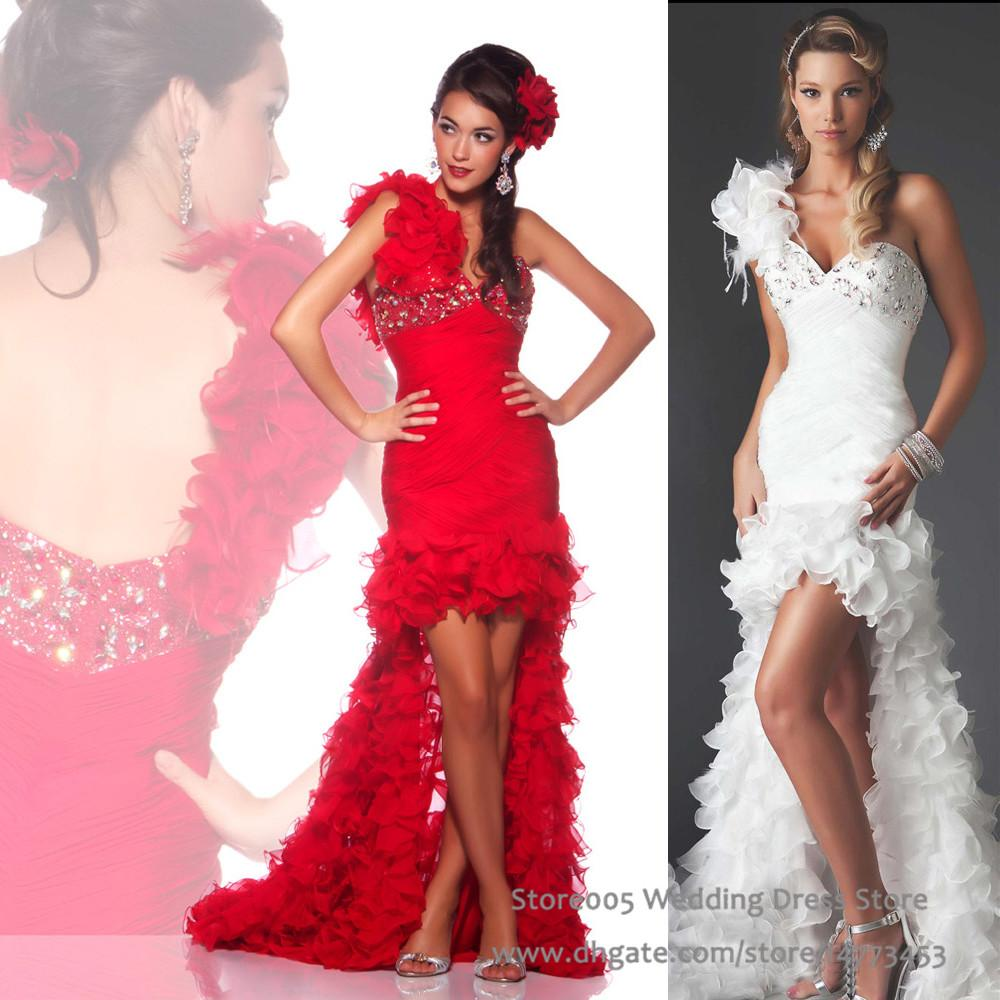 Red white high low wedding dresses one shoulder ruffles short red white high low wedding dresses one shoulder ruffles short front long back mermaid bridal gowns 2016 w1723 bridal dress mermaid dress from store005 ombrellifo Image collections