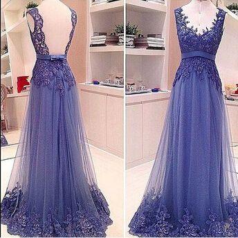 Elegant Royal Blue Deep V Neck Lace Appliques Tulle Prom Dresses Party Dresses Sexy Backless Ribbon Bow Lace Gowns Formal Evening Dresses