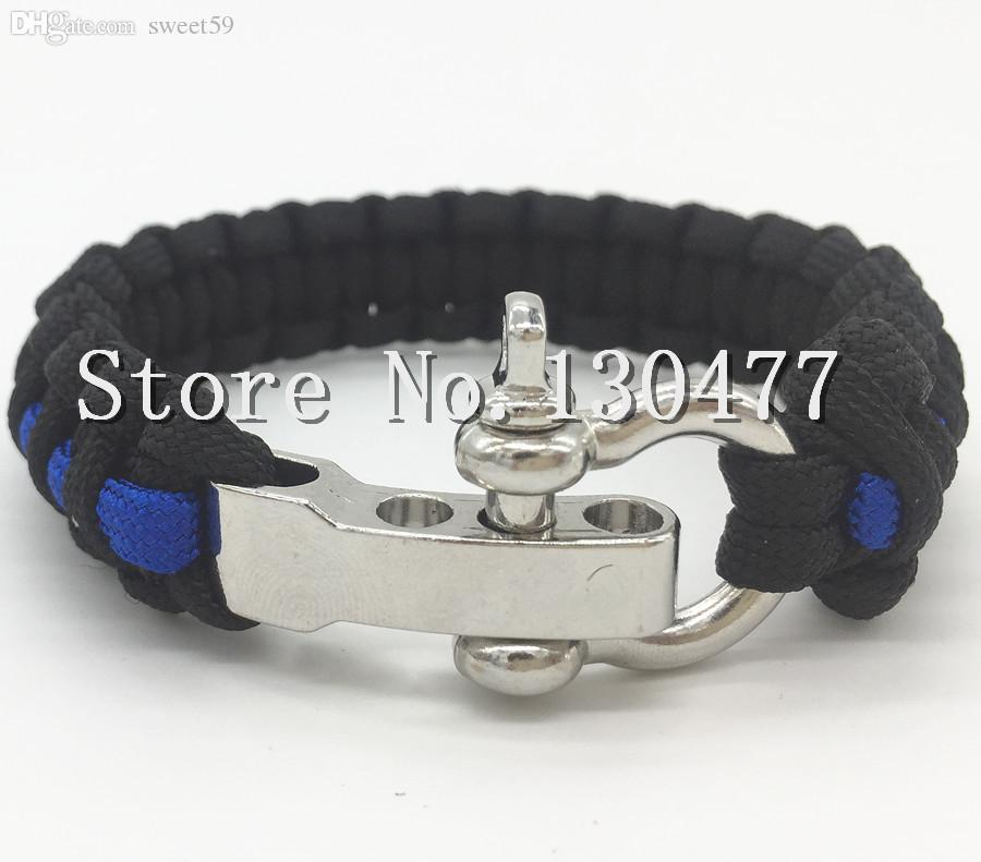 bracelet line law bangle enforcement officer survival products thin soul my leather for blue police support spirit lives