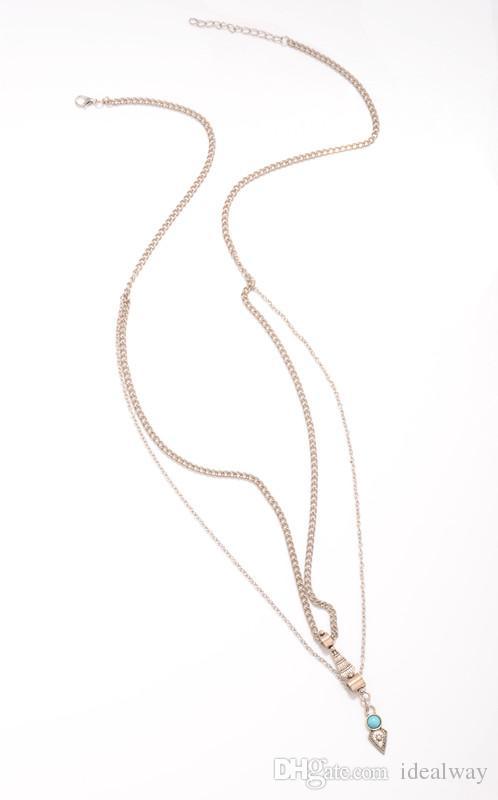 مجوهرات موضة جديدة الغجر الطراز الأوروبي فضة مطلية بالذهب الفيروز الطبيعي بيكيني مثير الخصر سلسلة الجسم