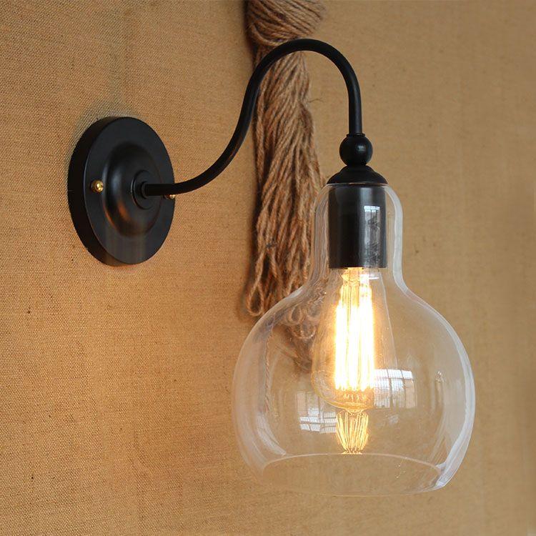 Vintage Eisen Klarglas Shade Wandleuchte Edison Bulb Fixtures Glass Ball Wandleuchten für Flure