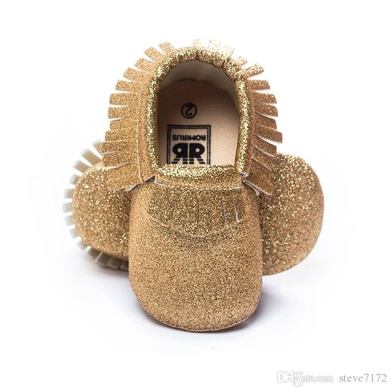 New Year Baby Girl Shoes Party Bling Baby First Walkers Children's Moccasins Tassel Leather Shiny Toddler Fringe Sock
