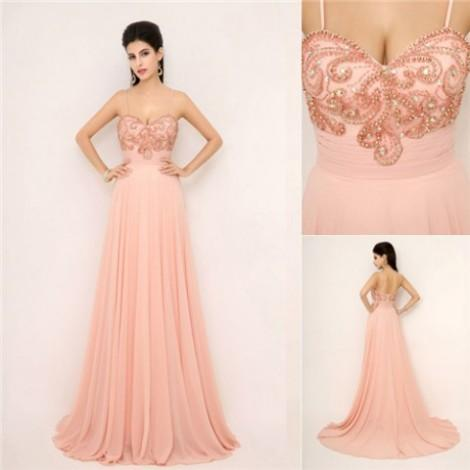 2015 Modest High End Prom Dresses With Spaghetti Beaded A Line Long