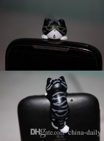 FreeShip 3.5mm Headset 3D Cartoon Emotional Lying Cat Earphone Jack Plug Anti Dust Plug Earphone Ear Cap for Cell Phone iPhone 6