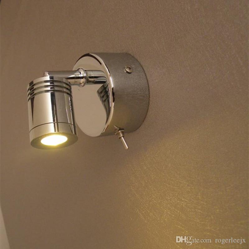 Topoch våningssängljus roterande lampa cylindrisk huvud inbyggd drivrutin 3W Integrerad LED Chrome Finish för Hotel Residential Motorhome Yacht