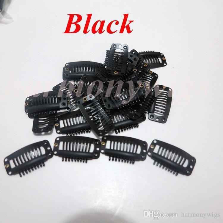 Grampos da extensão do cabelo 3.2 cm 9teeth cor preta de aço inoxidável para extensões de cabelo perucas de trama 6 cores