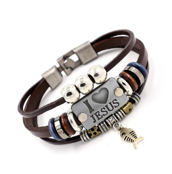 DHL J'AIME JÉSUS Charme Bracelets Pendentif Poisson Vintage Christian Multicouche Bracelets En Cuir pour Hommes Femmes Bracelet