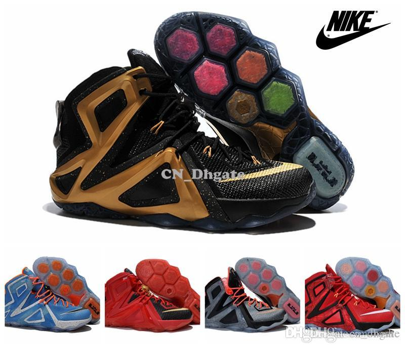 a782d881759 ... Compre Zapatos Nike Lebron 12 Baloncesto De La Élite Para Los Zapatos  Rojo Azul Negro Oro ...