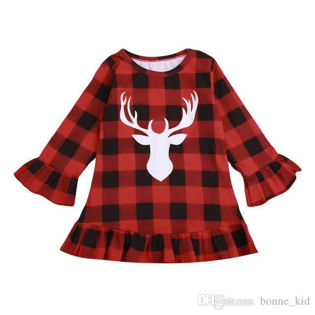 d44037101 2019 Christmas Kid Girls Dress Red Plaid Deer Ruffle Princess Dresses Long  Sleeve Kid Toddler Clothing NEW Xmas Checked Clothes 1 6T From Bonne_kid,  ...