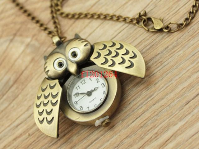 100 pçs / lote fedex dhl Frete grátis Bonito Da Coruja Do Vintage Colar de Pingente de Quartzo Relógio de Bolso Colar Fob Relógios