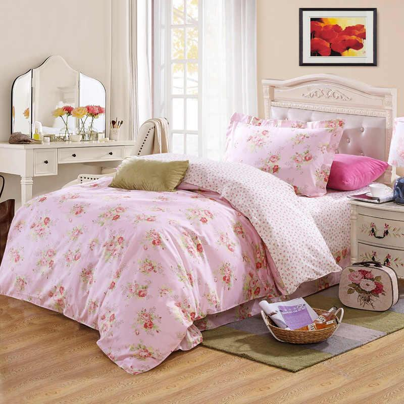 Girls Beauty Pink Flower 100 Cotton Bedding Bedclothes