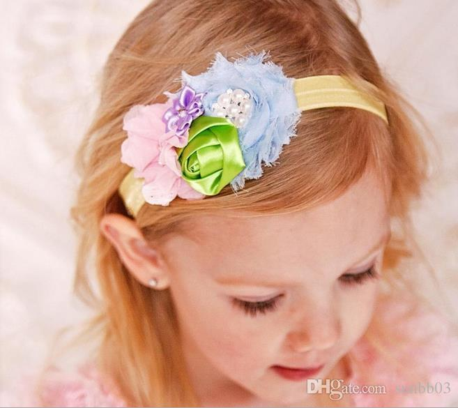 New Cute Baby Girl Bouquet Hair Bands Infant Kids Adorable Rose Princess Headwrap Lace Flower Hair Ribbon Hairband Children Hair Accessories