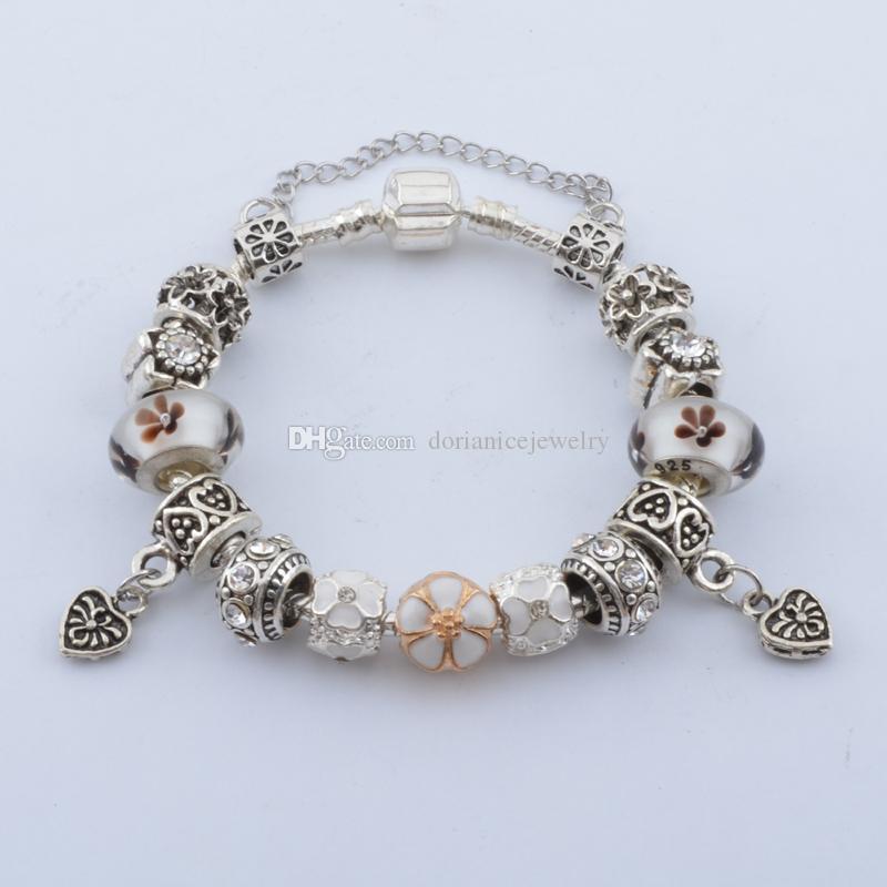 Neueste Charme Armbänder mit Blume Murano Glas Perlen Herz Baumeln Mode Schlangenkette Armreif Armbänder für Frauen BL107