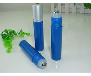 Blue 10ml Frosted Glass Roll On Essential Oils Perfume Bottles W/ Stainless Steel Roller Ball BY DHL