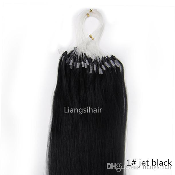 "Malaysian Loop Micro Ring Hair Extensions 16""-26"" 100s 1# Jet Black Straight Brazilian Peruvian Malaysian Indian Remy Human Hair Extensions"