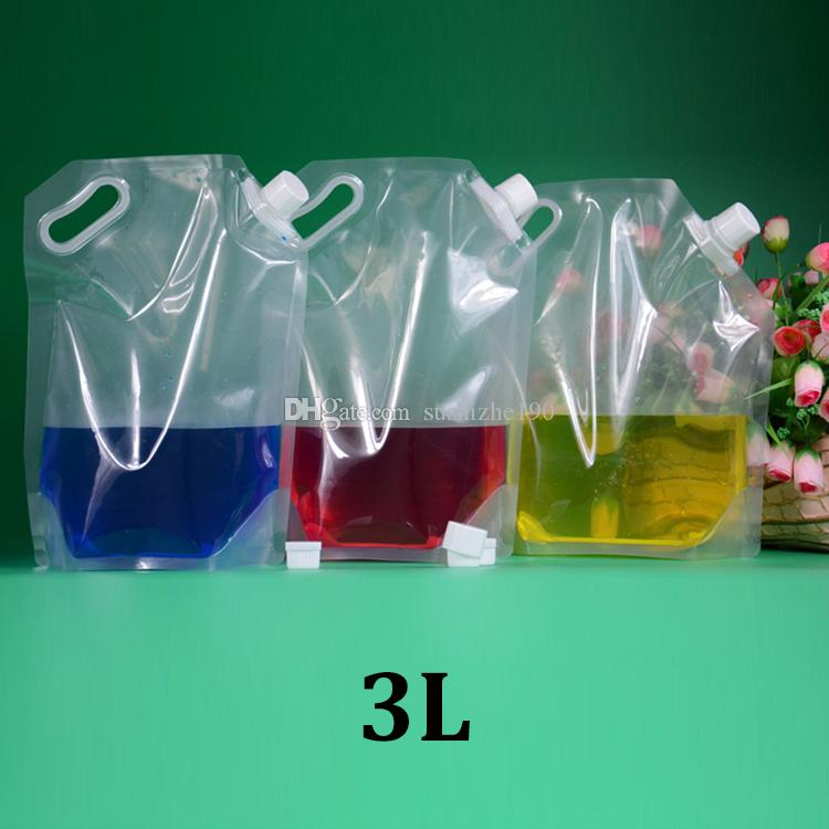 3L clear stand up spout handle plastic liquid detergent 3000ml storage  pouches bag