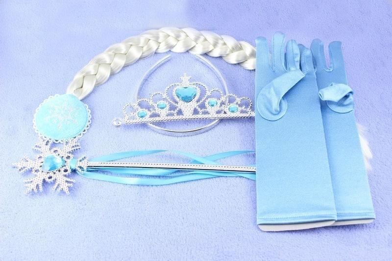 Girls Frozen Fever snowflake Crown Magic Wand wig gloves suit 2015 new children Cinderella princess elsa anna suit B001