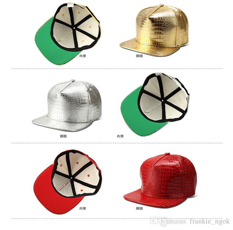 Alligatormuster PU Leder Hut Legierung Baseballmütze Hip Hop Hüte Erreichte Sonnenhut Einstellbare Hysteresenkappen 4 Farben Ohne Logo