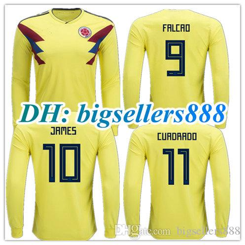 ecc4be18add 2019 TOP QUALITY 2018 World Cup FALCAO JAMES Colombia Home Yellow Soccer  Jersey Long Sleeves CUADRADO TEO BACCA 2017 Colombia Away Football Shirt  From ...