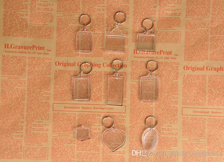 DIY 빈 사진 키 체인 투명 아크릴 키 체인 삽입 사진 플라스틱 키 링, 무료 DHL / FedEx