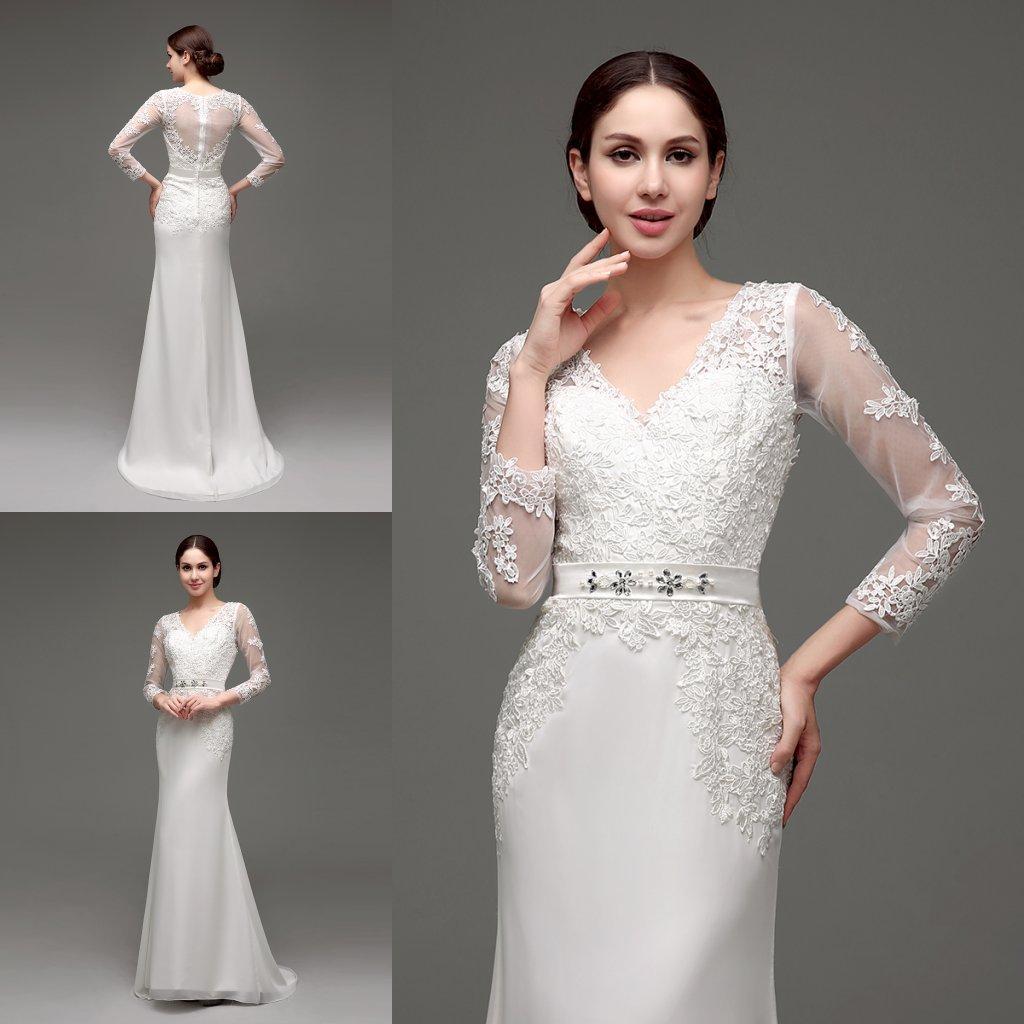 Discount Designer Wedding Gowns: New Designer Mermaid Lace Wedding Dresses In Stock Long