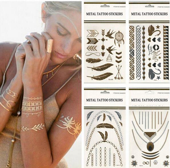 Metalic Tatoos Gold Metallic Temporary Flash Tattoos Sex Products Henna Metal Bling Tatouage Body Paint Stickers body art