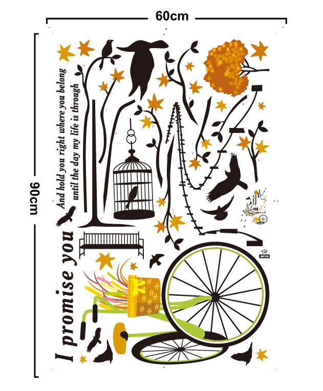 Peaceful Road Wall Art Quote Decal Sticker Black Tree Flowers Bicycle Birds &Birdcage Mural Wallpaper Decoration Romantic Home Art Decal